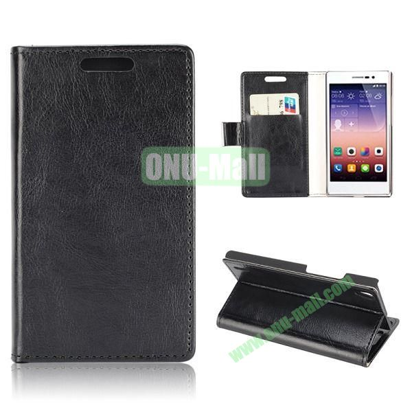 Crazy Horse Texture Magnetic Flip Stand Leather Case with Card Slots for Huawei Ascend P7 (Black)