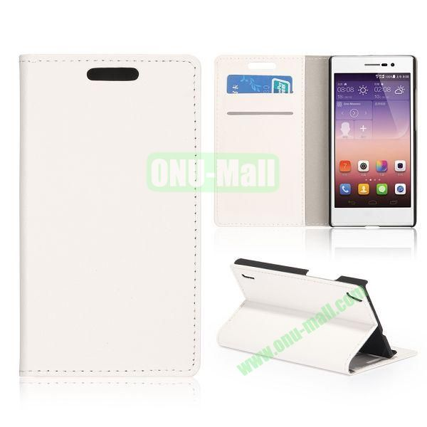 Cloth Texture Wallet Design Flip Stand PC + Leather Case For HuaWei Ascend P7 (White)
