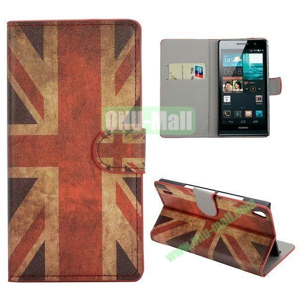 Retro UK Flag Pattern Magnetic Flip Stand Hard PC+PU Leather Case With Card Slots For Huawei Ascend P7