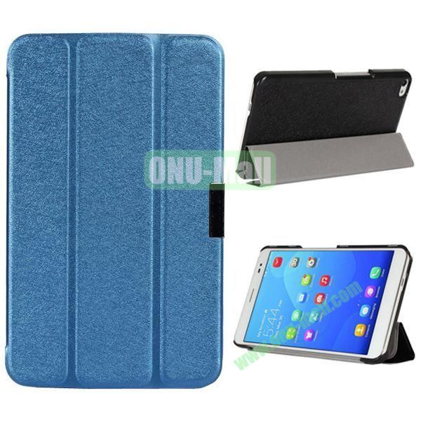3-folding Ultrathin Stand Flip Silk Texture Leather Case for Huawei MediaPad X2/ X1 (Blue)