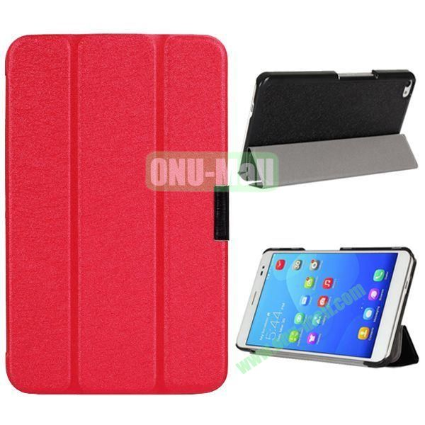 3-folding Ultrathin Stand Flip Silk Texture Leather Case for Huawei MediaPad X2/ X1 (Red)