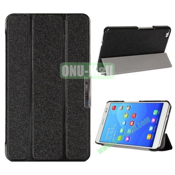 3-folding Ultrathin Stand Flip Silk Texture Leather Case for Huawei MediaPad X2/ X1 (Black)