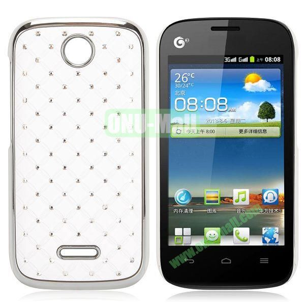 Shining Diamond Grid Design Electroplate Hard Case for Huawei Ascend Y325 (White)