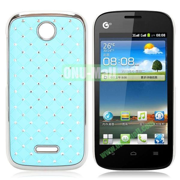 Shining Diamond Grid Design Electroplate Hard Case for Huawei Ascend Y325 (Light Blue)