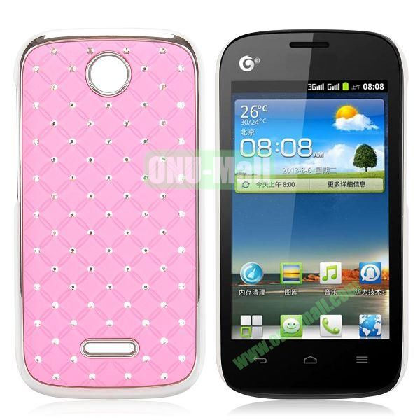 Shining Diamond Grid Design Electroplate Hard Case for Huawei Ascend Y325 (Pink)