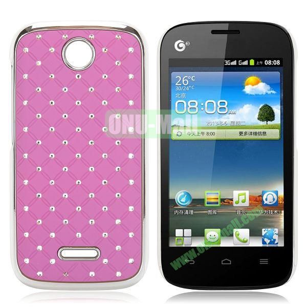 Shining Diamond Grid Design Electroplate Hard Case for Huawei Ascend Y325 (Purple)