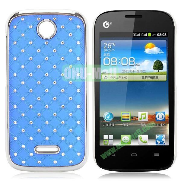 Shining Diamond Grid Design Electroplate Hard Case for Huawei Ascend Y325 (Blue)