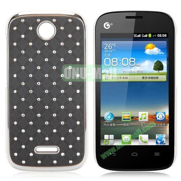Shining Diamond Grid Design Electroplate Hard Case for Huawei Ascend Y325 (Black)