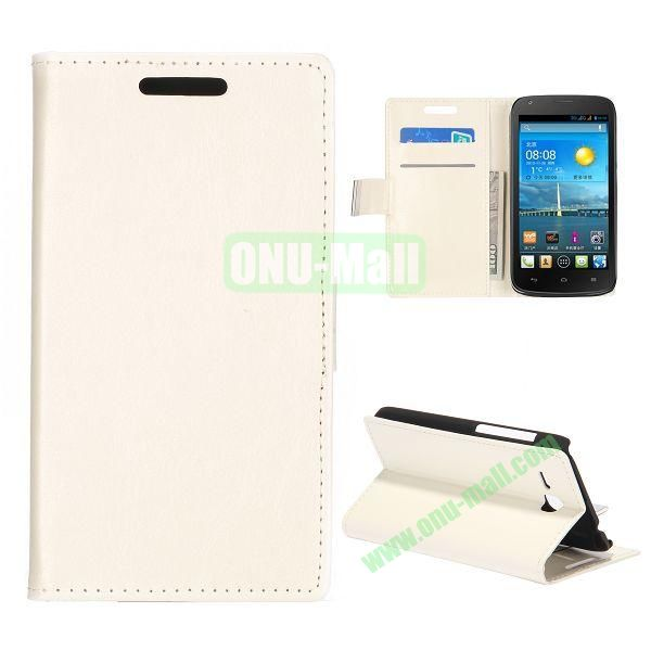 Crazy Horse Texture Wallet Style Folio Leather Case for HuaWei Y600 with Card Slots and Stand (White)