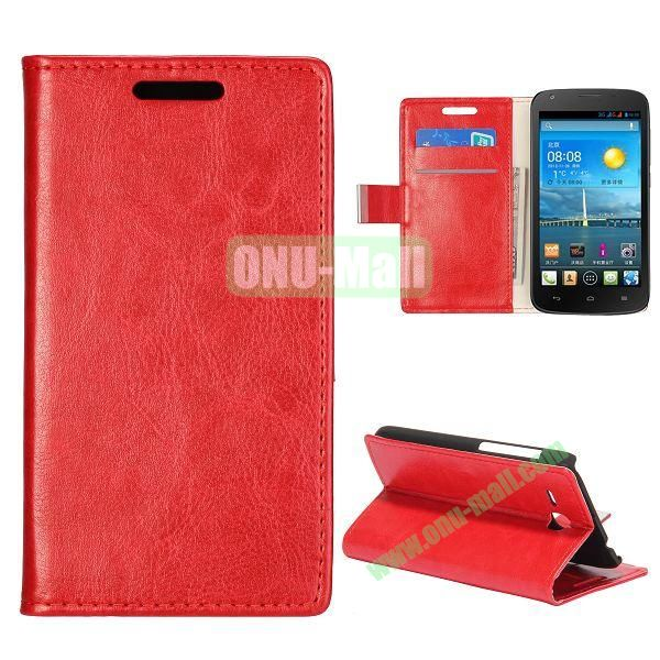 Crazy Horse Texture Wallet Style Folio Leather Case for HuaWei Y600 with Card Slots and Stand (Red)