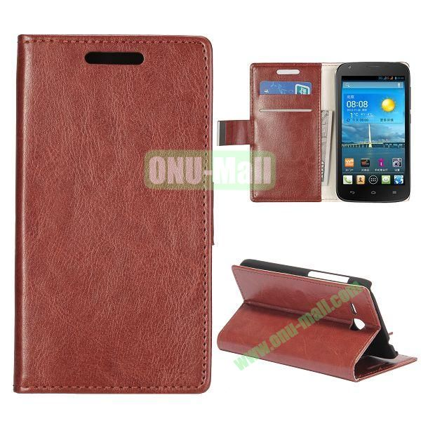 Crazy Horse Texture Wallet Style Folio Leather Case for HuaWei Y600 with Card Slots and Stand (Brown)
