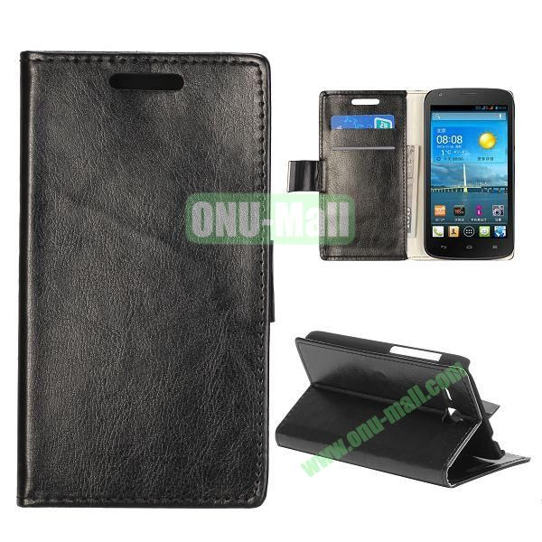 Crazy Horse Texture Wallet Style Folio Leather Case for HuaWei Y600 with Card Slots and Stand (Black)