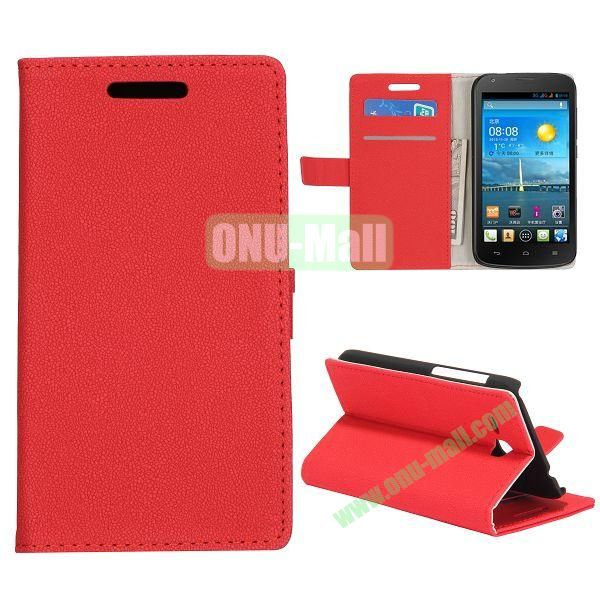 Stone Texture Wallet Style Folio Leather Case for HuaWei Y600 with Card Slots and Stand (Red)