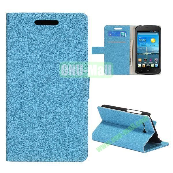 Stone Texture Wallet Style Folio Leather Case for HuaWei Y600 with Card Slots and Stand (Blue)