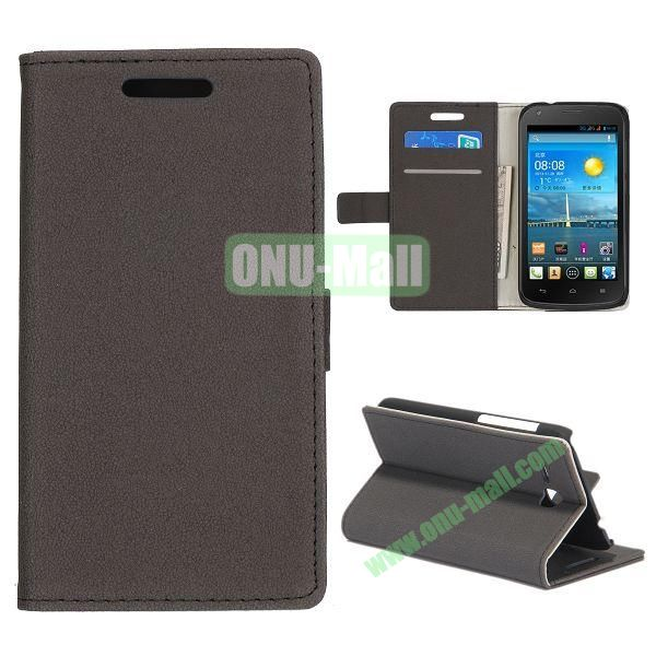 Stone Texture Wallet Style Folio Leather Case for HuaWei Y600 with Card Slots and Stand (Black)