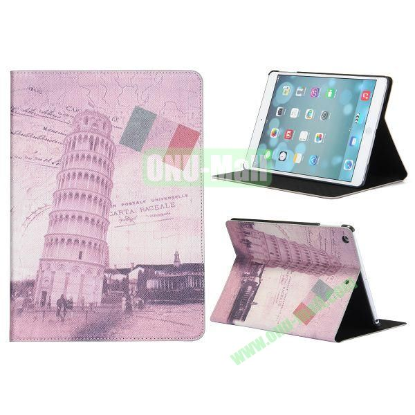 Places Of Interest Pattern Flip Leather and PC Case For iPad Air with Stand (Tower of Pisa)