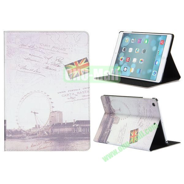 Places Of Interest Pattern Flip Leather and PC Case For iPad Air with Stand (London Eye)