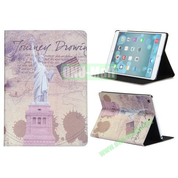 Places Of Interest Pattern Flip Leather and PC Case For iPad Air with Stand (Statue of Liberty)
