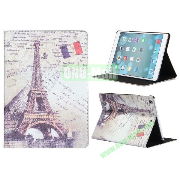 Places Of Interest Pattern Flip Leather and PC Case For iPad Air with Stand (Eiffel Tower)