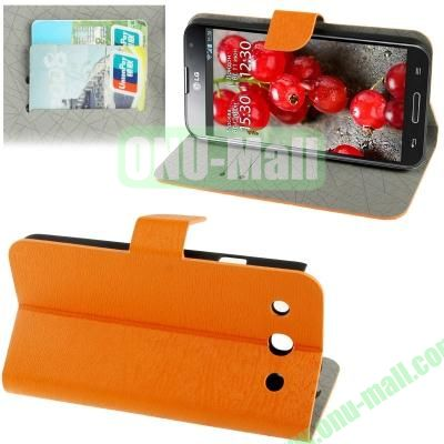 Wood Texture Leather Case for LG Optimus G Pro F240 with Credit Card Slots & Holder (Orange)