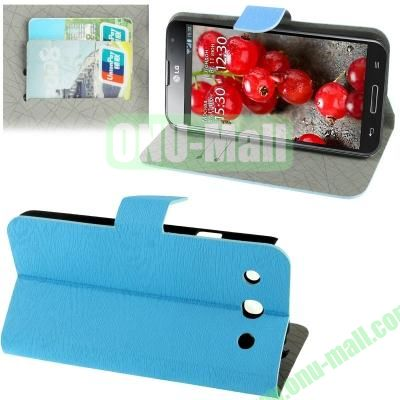 Wood Texture Leather Case for LG Optimus G Pro F240 with Credit Card Slots & Holder (Blue)