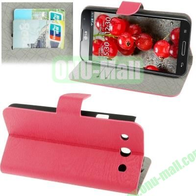 Wood Texture Leather Case for LG Optimus G Pro F240 with Credit Card Slots & Holder (Magenta)