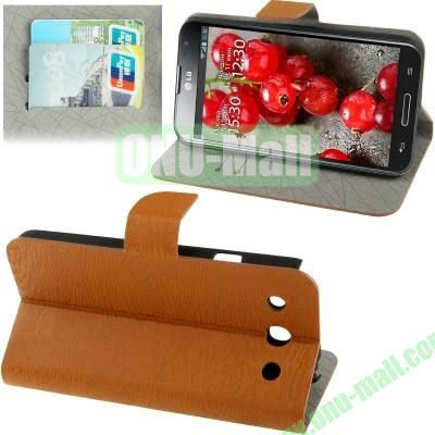 Wood Texture Leather Case for LG Optimus G Pro F240 with Credit Card Slots & Holder (Brown)