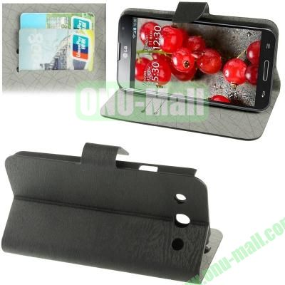 Wood Texture Leather Case for LG Optimus G Pro F240 with Credit Card Slots & Holder (Black)