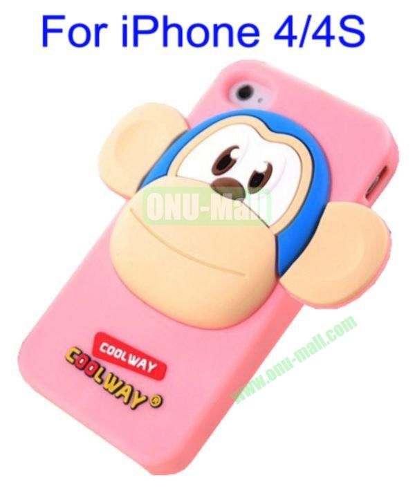Cute Cartoon Monkey Style Silicone Case for iPhone 44S(Pink)