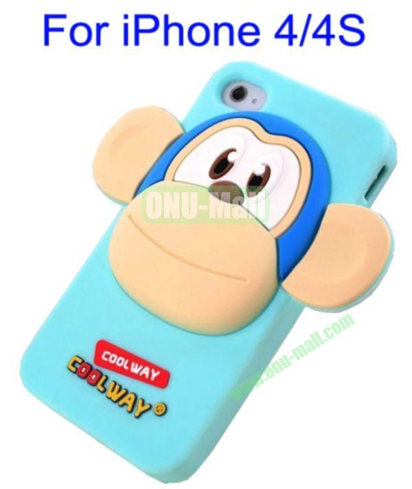 Cute Cartoon Monkey Style Silicone Case for iPhone 44S(Blue)