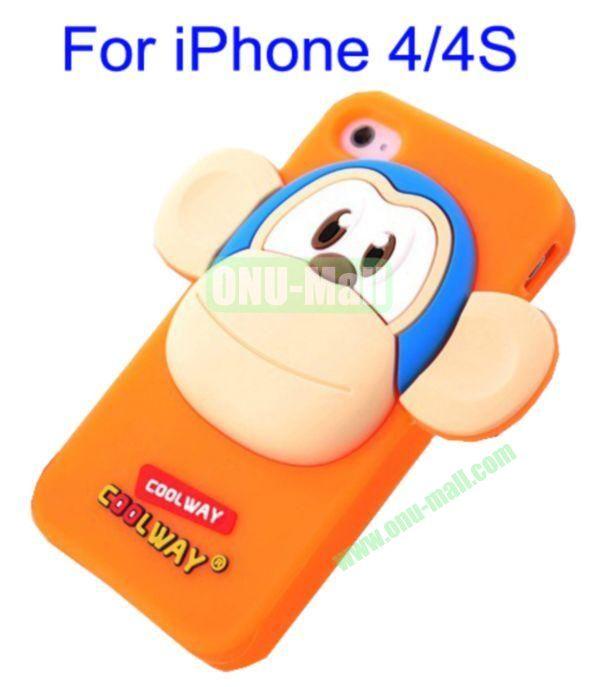 Cute Cartoon Monkey Style Silicone Case for iPhone 44S(Orange)