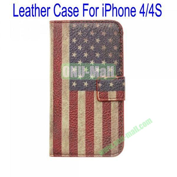 Retro USA Flag Leather Case for iPhone 44S