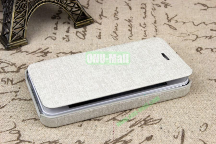 Ultrathin Flip Leather Cover with Hard Back Cover for iPhone 44S(White)