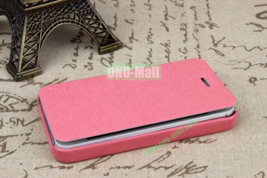 Ultrathin Flip Leather Cover with Hard Back Cover for iPhone 44S(Pink)