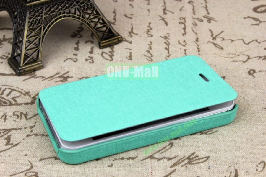 Ultrathin Flip Leather Cover with Hard Back Cover for iPhone 44S(Blue)