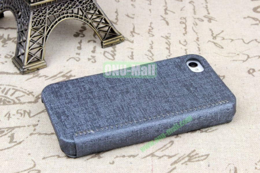 Ultrathin Flip Leather Cover with Hard Back Cover for iPhone 44S(Grey)