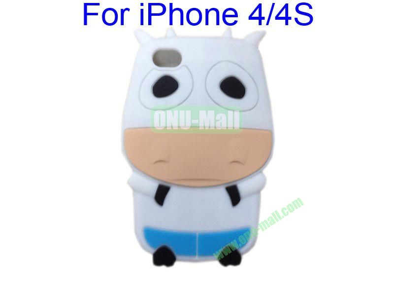 Cute Cow Cartoon Silicone Case for iPhone 44S(White)