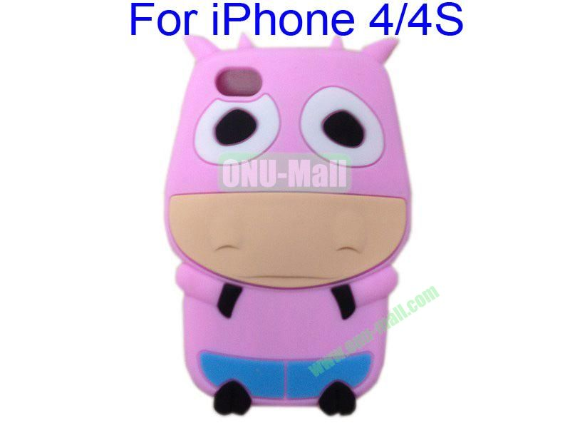 Cute Cow Cartoon Silicone Case for iPhone 44S(Pink)