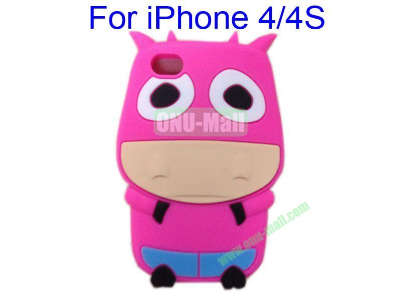 Cute Cow Cartoon Silicone Case for iPhone 44S(Rose)