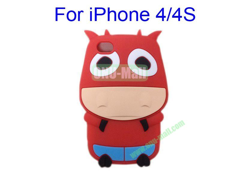 Cute Cow Cartoon Silicone Case for iPhone 44S(Red)