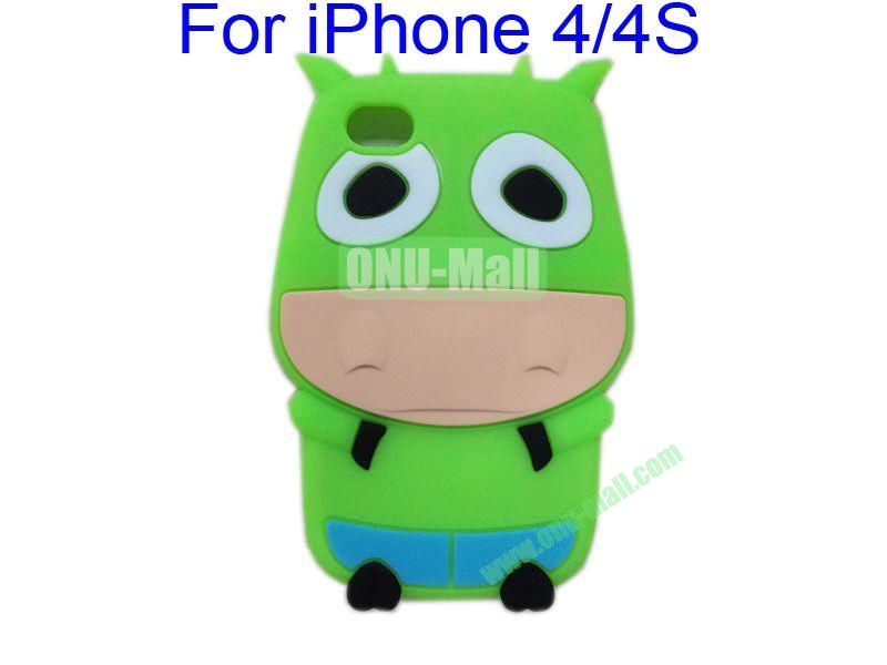 Cute Cow Cartoon Silicone Case for iPhone 44S(Green)