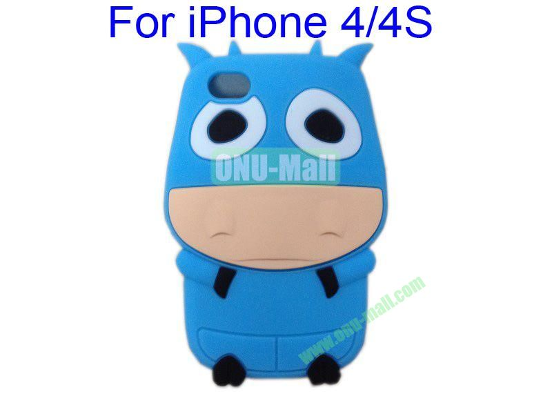 Cute Cow Cartoon Silicone Case for iPhone 44S(Blue)