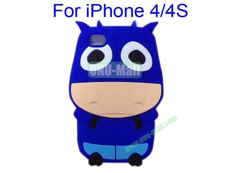 Cute Cow Cartoon Silicone Case for iPhone 44S(Dark Blue)
