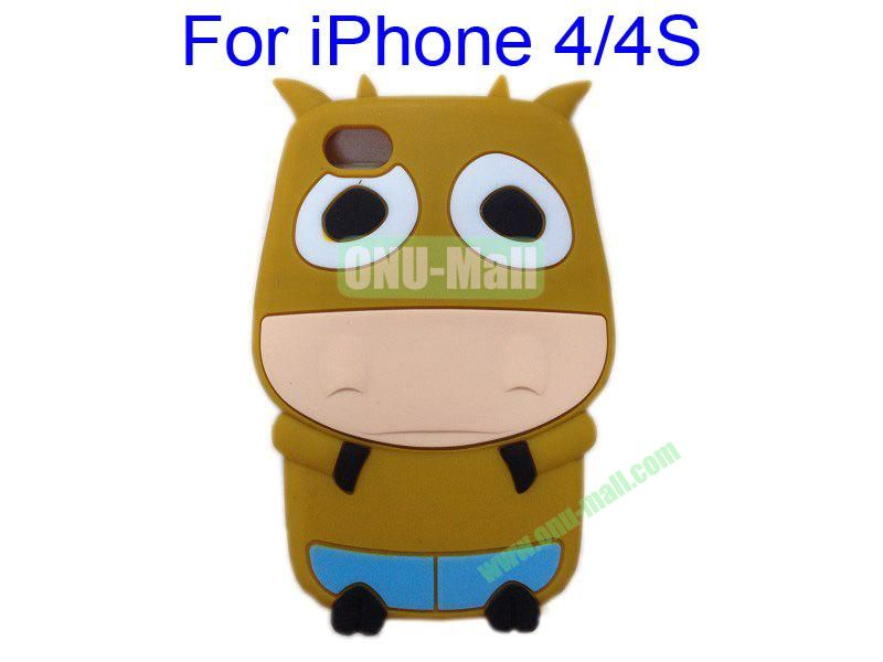 Cute Cow Cartoon Silicone Case for iPhone 44S(Brown)