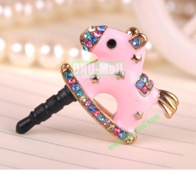 Lovely Horse Design Dustproof Plug for iPhone 5Galaxy S4Mobile Phones(Pink)