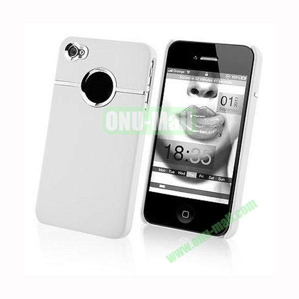Fashionable and High Quality Hard Case with Chrome Inset for iPhone4iPhone 4S (White)