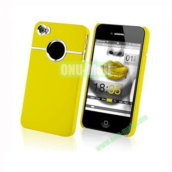 Fashionable and High Quality Hard Case with Chrome Inset for iPhone4iPhone 4S (Yellow)