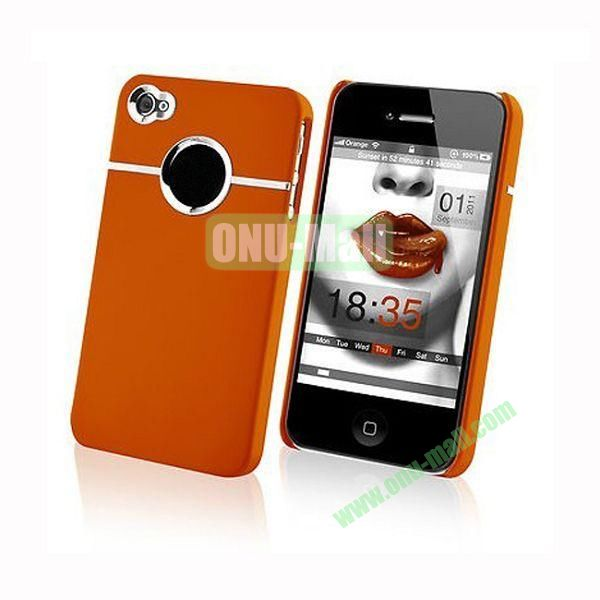 Fashionable and High Quality Hard Case with Chrome Inset for iPhone4iPhone 4S (Orange)