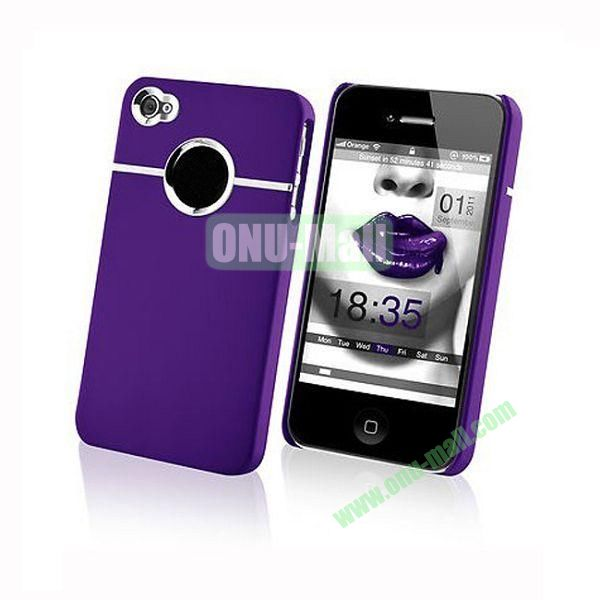 Fashionable and High Quality Hard Case with Chrome Inset for iPhone4iPhone 4S (Purple)