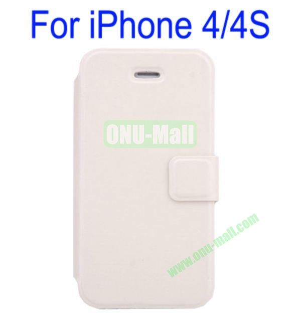 Ultrathin Magnetic Folio Stand Dormancy Case Cover for iPhone 44S(White)